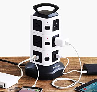 Power Strip Tower 2500W 10A,10 Outlet Plugs with 2 USB Slots + 2M Cord Wire Extension Universal Socket for PC Laptops Mobile