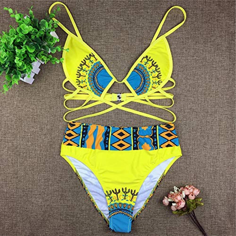 206bfaa8af4 HITSAN ZPDWT Tribal Print Bathing Suit Women African Swimwear 2018 New Plus  Size Swimsuit High Waist Bikini Beach Swim color S323 Size L Yellow Wear ...