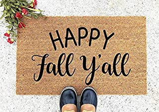 Happy Fall Yall Welcome Doormat - Welcome Mat - Welcome Doormat - Cute Doormat - Funny Doormat - Personalized Doormat - Happy Fall Yall Doormat