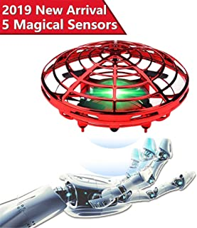 Drones for Kids,UFO Flying Toys for Boys Gifts,Hand Operated Self Flying Drone for Beginner with Obstacle Avoidance,2 Auto Hover Speed Flying Ball,Boys Toys - Red