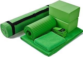 BalanceFrom GoYoga 7-Piece Set - Include Yoga Mat with Carrying Strap, 2 Yoga Blocks, Yoga Mat Towel, Yoga Hand Towel, Yoga Strap and Yoga Knee Pad