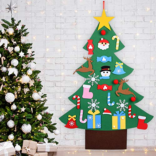 Aurdox DIY Felt Christmas Tree for Toddlers - Home Decorations Wall Hanging Xmas Children's Felt Craft Kits Christmas Decoration Party Supplies