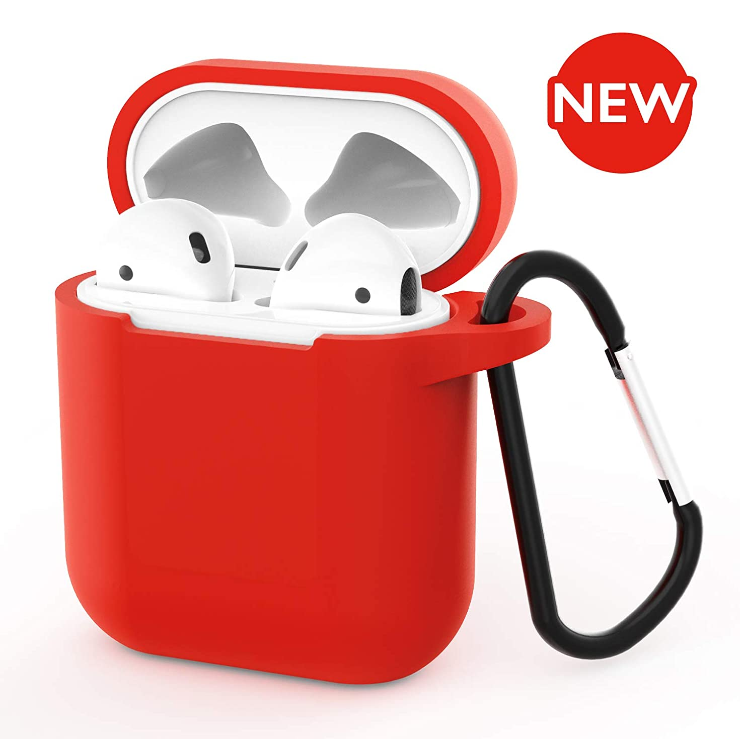 AirPods Case - BLUEWIND 2019 Newest 360° Protective Silicone AirPod Case Cover Compatiable with Apple AirPods 1st/2nd (Red)