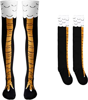 BeYumi Chicken Legs Socks, Unisex Crazy Funny Athletic Running Socks Boots Knee Thigh High Novelty Cosplay Party Costume Socks Gag Gifts Cluck Legs Knee Sock Size XL