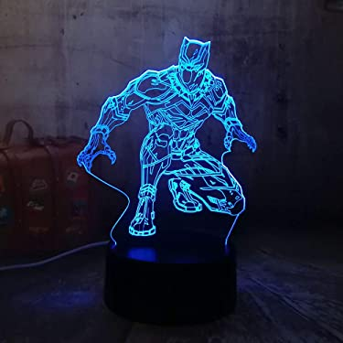 Marvel Legends The Avengers Cool Black Panther Desk Lamp Marvel Hero 3D LED RGB 7 Color Change Night Light USB Lamp for Child Kids Boy Gift Christmas Present Home Decor(Black Panther)
