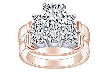 (2 Cttw) Round Shape White Natural Diamond Bridal Engagement Wedding Band Ring Set in 14k Solid Gold