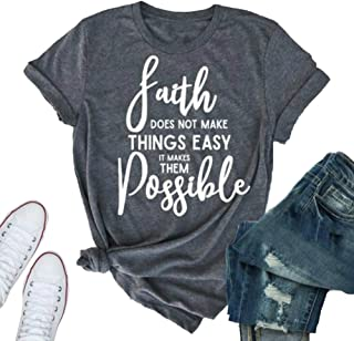 Women's Summer Casual Loose Faith Letter Print Graphic Cotton Short Sleeve Round Neck Tees T-Shirts Tops