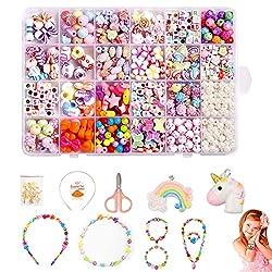 Perlen zum Auffädeln, DIY Perlenschmuck Selber Machen Kinder,DIY Armbänder Set, Bunte Perlen Schmuck Basteln Mädchen Freundschaftsarmbänder Halsketten Schnurset für Mädchen Kinder, 24 Farben