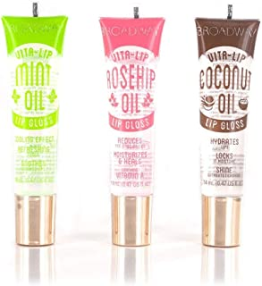 Broadway Vita-Lip Clear Lip Gloss 0.47oz/14ml (3PCS - Mint & Coconut & Rosehip Oil)