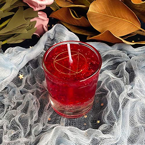 Powefer Candle Magic Wishing Candle Glass Crystal Candle Witch Ritual Candle Fortune Study Love Blessing Candle Gel Wax Religious Candles Wax (Color : Red)