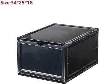 Garlic Broccoli 3pcs Clamshell Shoe Hanger Plastic Shoebox Transparent Crystal Portable Storage Box Home Drawer Case Organizer,Black 1pcs