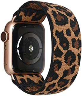 Tefeca Dark Cheetah/Leopard Pattern Elastic Compatible/Replacement Band for Apple Watch 38mm/40mm (Gold Adapter, XS fits W...