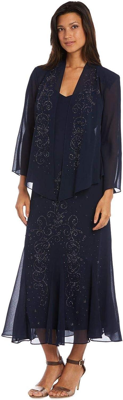 R&M Richards Women's Beaded Chiffon Jacket Dress
