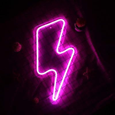 Lightning Bolt Letreros de neón Letrero de neón Lightning con interruptor Art Wall Letreros de luz de neón LED para dormitorio, Navidad, fiesta de cumpleaños, sala de estar (rosa)