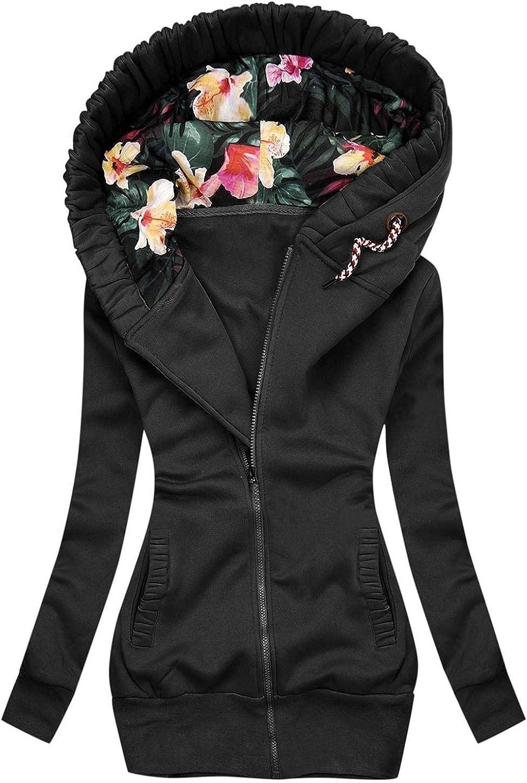 FABIURT Sweatshirt for Women Zip Up,Women's Floral Printed Hoodie Long Sleeve Hooded Sweatshirts Pockets Jacket Coat