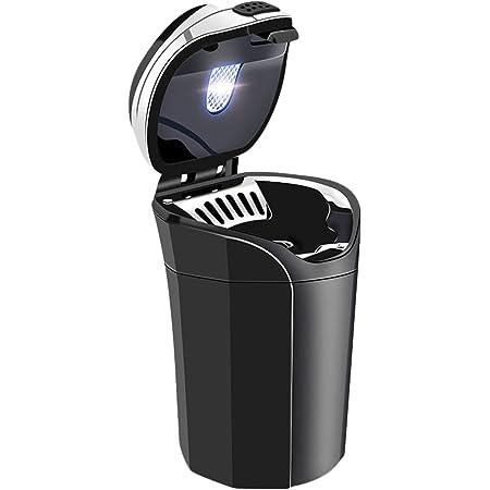 Besylo Auto Aschenbecher 2pcs Easy Clean Up Abnehmbarer Autoaschenbecher Mit Led Licht Mit Klappdeckel Selbstverlöschender Aschenbecher Für Autos Van Outdoors Camping Schwarz Auto