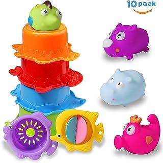 Juguetes de Baño 6-12 Meses Juguetes de Ducha Juguetes de Playa con 5 tazas de Colores y 4 Bañeras Flotantes Bonitas Juguetes de Animales Marinos Juguetes de Bebé para 1 2 3 Años de Edad Niños Niñas