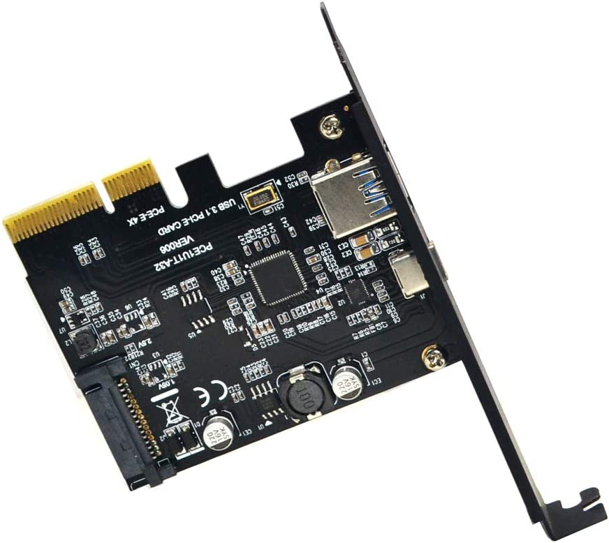 Sintech PCI-E 4X to USB 3.0 Adapter,PCI Express Type C Gen 2 Expansion Card with Asmedia Chipset ASM3142