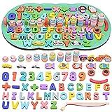 GOLDGE Numeri di Conteggio in Legno Giocattoli Educativi Montessori Giochi Bambini 1 2 3 Anni, Puzzle in Legno Gioco Pesca Magnetica, Anelli Impilabili per Imparare la Matematica Contare e Colori
