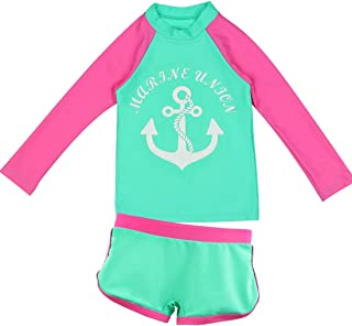 Kid Girl's Boy's Two-Piece Long Sleeve Swimsuits Bathing Suit,Toddler Kids Sun Protection UPF50+ Rash Guard
