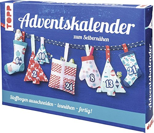 Adventskalender zum Selbernähen: Stoff mit aufgedrucktem Schnittmuster und Anleitung für einen selbstgemachten Adventskalender zum Aufhängen und Befüllen