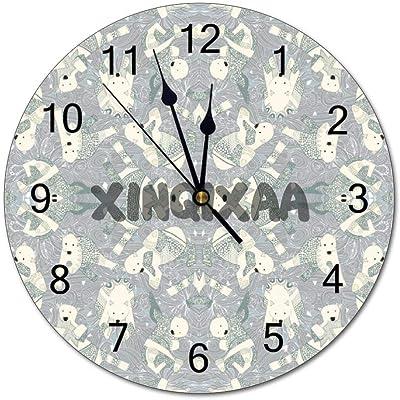 ホッキョクグマシルバー 掛け時計 壁掛け時計 インテリア 壁飾り 部屋装飾 雑貨 家の装飾数字時計 ホームオフィス教室用 工芸ストラップ 置き時計 数字時計 円型直径 25CM