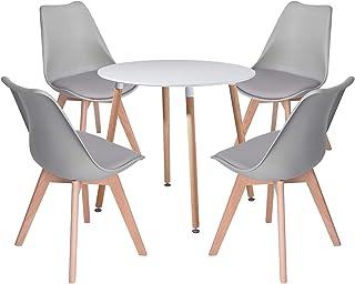 DORAFAIR Set aus Runder Küchentisch und 4 Skandinavischen Stühlen, für Küche Esszimmer Büro, Grau Stuhl