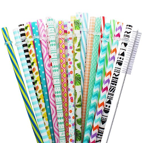 Paja reutilizable Anvin Pajas de beber coloridas de plástico para cumpleaños, bodas, baby shower, fiestas y fiesta, 30 piezas(dimensiones: aprox. Ø 7mm x 22,8mm), bonificación con cepillo de limpieza