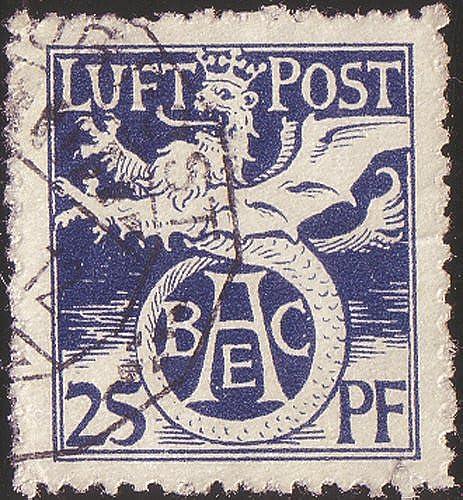 Goldhahn Bayern Flugpostmarke Nr. F1 gestempelt Geflügelter L  Briefürken für Sammler