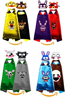 4 Sets Five Nights at Freddys Costumes 2-Side Cosplay Capes and Masks for Kids Party - Birthday DIY Dress Up