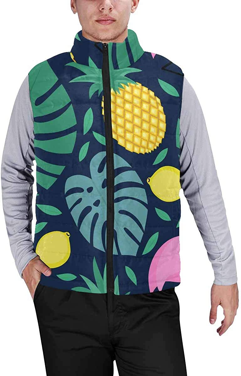InterestPrint Warm Outdoor Sleeveless Stand Collar Vest for Men Autumn Deciduous Tree