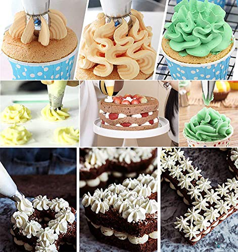 27pcs Russian Piping Tips Baking Supplies Set Cake Decorating Tips for Cupcake Cookies Birthday Party, 12 Icing Tips, 2 Leaf Piping Tips, 2 Couplers, 10 Pastry Baking Bags (27)