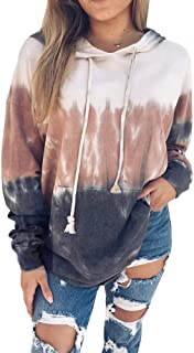 Kaxindeb Womens Fall Tie Dye Printed Hoodies Casual Color Block Long Sleeve Baggy Sweatshirts Pullovers with Pocket