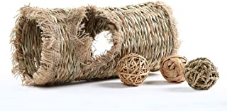 Niteangel Natural Hideaway Grass Tunnel Ball Toys for Rabbit Chichilla Guinea Pigs Degu Bunny, 13.5-inch