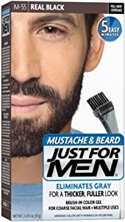JUST FOR MEN Color Gel Mustache & Beard M-55 Real Black 1 Each (Pack of 4)