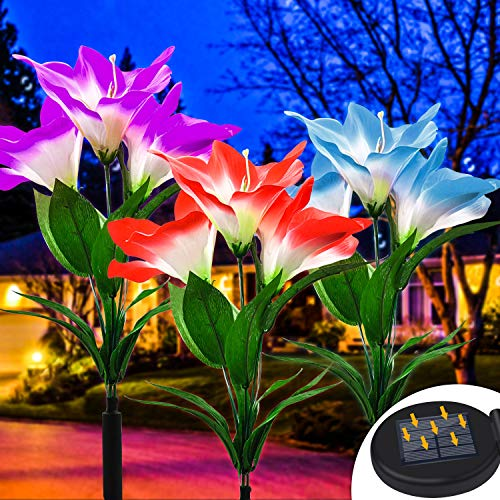 OSORD Outdoor Solar Garden Stake Lights, Upgraded Waterproof Solar Flower Lights LED Multi-Color Changing Auto On/Off Yard Garden Landscape Decorative Solar Lights for Lawn Patio Pool Area (3 Pack)