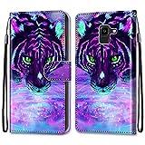 i-Case Carcasa Samsung Galaxy J6 2018 Flip Cover, Patrón PU Piel Funda,Cubierta de Ranuras para Tarjetas,Caja de Soporte con Cierre Magnético Caso teléfono para Galaxy J6 Tigre Purpurina púrpura