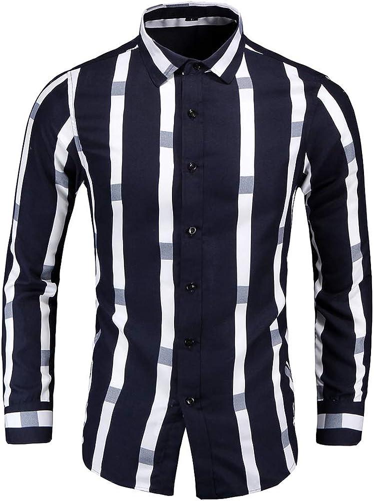 YYNUDA Men's Lapel Collor Thick Striped Shirts Slim Fit Long Sleeve Button Down Shirt