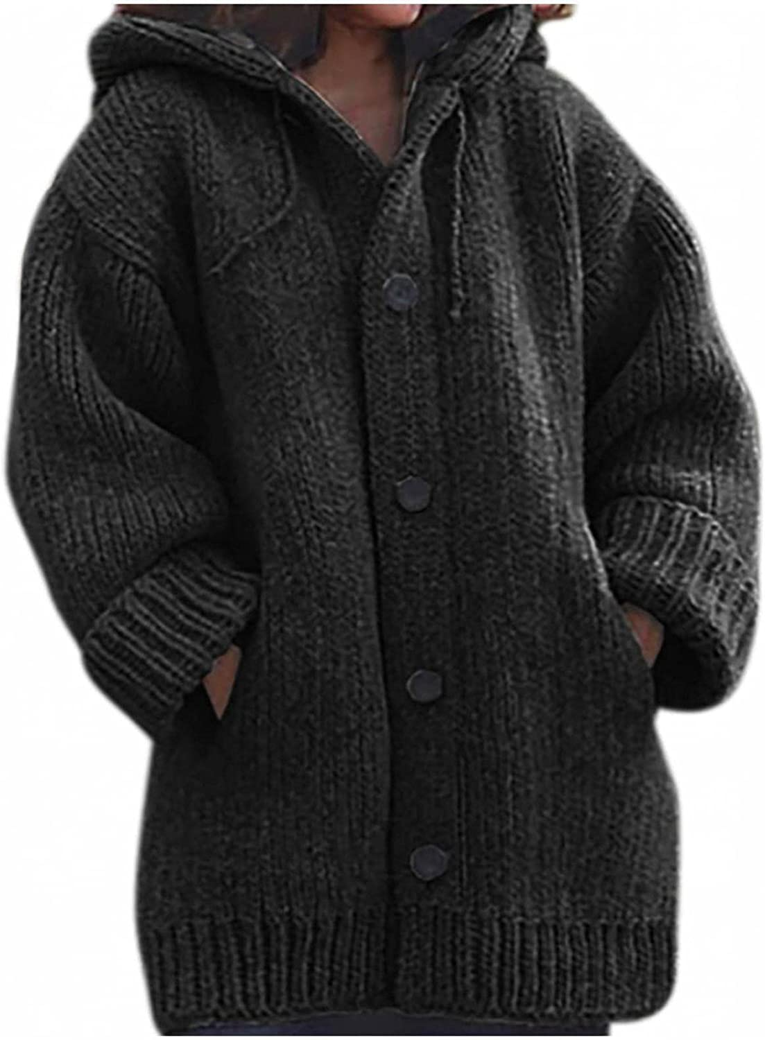 Plus Size Tops for Women Oversized Knitted Sweater Full Button Down Coat Fluffy Warm Hoodies Winter Long Sleeve