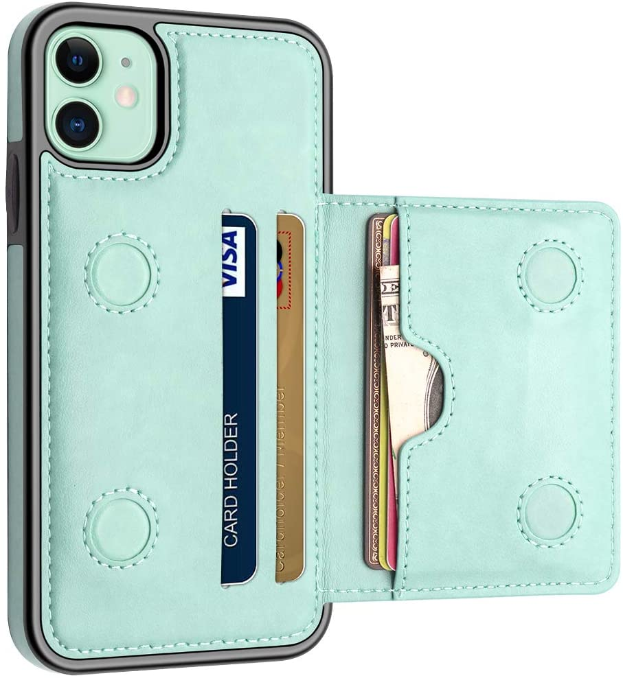 LakiBeibi Case for iPhone 11 Case with Card Holders, Dual Layer Lightweight Slim Leather iPhone 11 Wallet Case Flip Folio Magnetic Lock Protective Case for Apple iPhone 11 6.1 Inch (2019), Mint