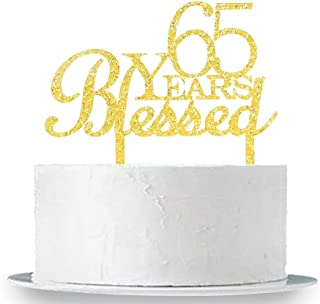 65 Years Blessed Cake Topper, Gold Acrylic Happy 65th Birthday/Anniversary Marriage Party Cake Topper Decoration