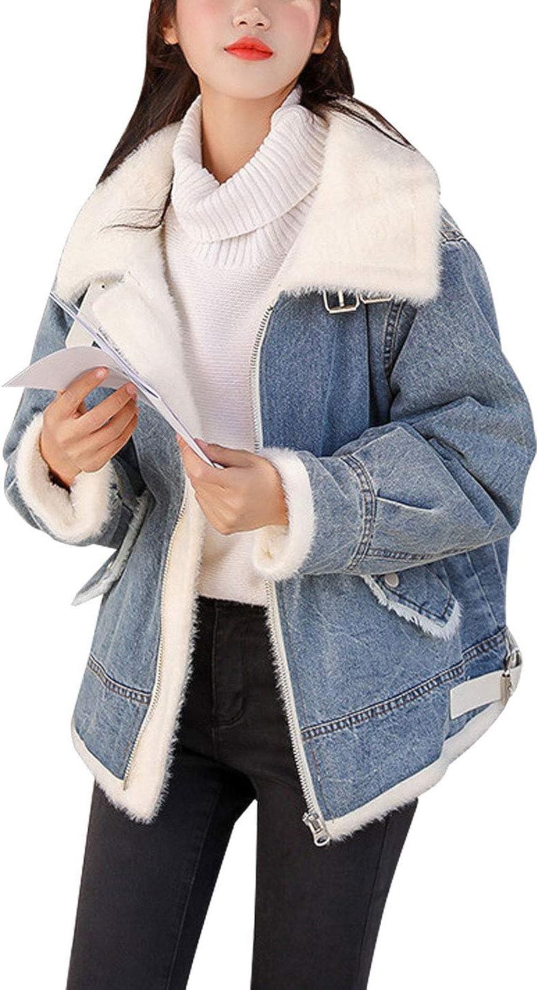 Omoone Women's Faux Fur Lapel Collar Fleece Lined Loose Baggy Denim Jean Jacket