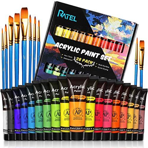 RATEL Conjunto de Pintura Acrílica, 18 tubos No tóxico Caja de Pintura Acrílica, con Pigmento Acrílico de 18×36 ml y 10 Pinceles de Pintura, para Papel, Roca, Madera, Cerámica, Tela, artesanías
