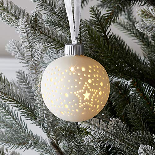 Lights4fun Pallina in Ceramica Bianca per Albero di Natale con LED Bianco Caldo a Pile per Interni