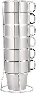 Tasse à café isolée empilable de 6 pièces avec poignée et support de tasse, tasse à café expresso en acier inoxydable à do...