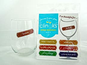 Clingks 12 Drink Markers - I'M THANKFUL FOR - Fun Thanksgiving Wine Charm Alternative