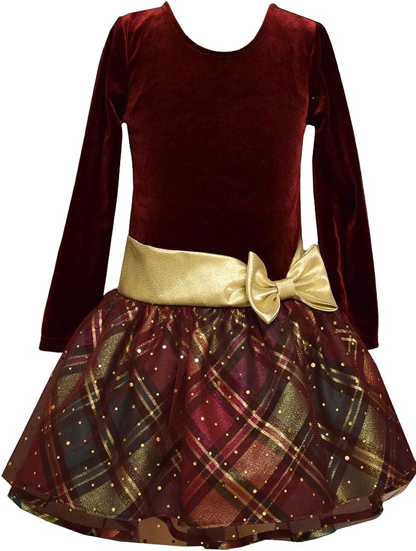 Bonnie Jean Girls Holiday Dress Velour Plaid Hipster
