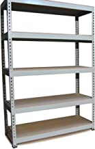 5 x Q-Rax Stellingkaten - 120cmx50cmx180cm per rek - Grijs - 100% boutloos - Draagkracht: 200 kg per plank - opbergrek metaal