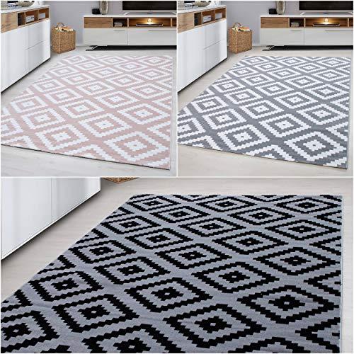 Ayyildiz Wunderschöne Designer Kurzflor Teppich 6mm Modern Wohnzimmer Raute Design Karo Muster Grau oder Pink Öko Tex, Farbe:Grau, Größe:120 x 170 cm