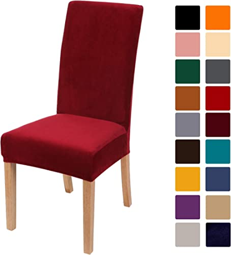 smiry Velvet Stretch Dining Room Chair Covers Soft Removable Dining Chair Slipcovers Set of 6, Wine Red